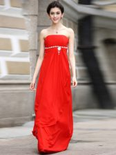 Traditional Sleeveless Chiffon Floor Length Zipper Prom Evening Gown in Coral Red with Beading and Ruching