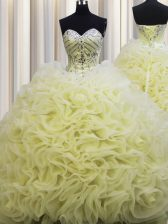Fine Brush Train Fabric With Rolling Flowers Sleeveless Floor Length Sweet 16 Dress and Beading and Pick Ups