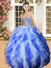 Blue And White Sweetheart Lace Up Beading and Ruffles Sweet 16 Dresses Sleeveless