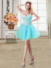 Dazzling Sleeveless Lace Up Mini Length Beading Dress for Prom