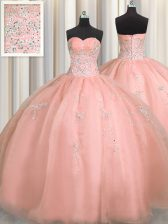 Puffy Skirt Watermelon Red Ball Gowns Organza Sweetheart Sleeveless Beading and Appliques Floor Length Zipper Quinceanera Dresses