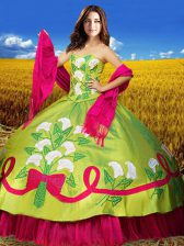 Colorful Sweetheart Sleeveless Quinceanera Dresses Floor Length Embroidery Olive Green Taffeta