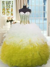 New Style Beading and Ruffles Quince Ball Gowns Multi-color Lace Up Sleeveless Floor Length