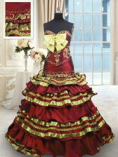 Latest Wine Red Quinceanera Dress Taffeta Sweep Train Sleeveless Appliques and Embroidery and Ruffled Layers and Bowknot