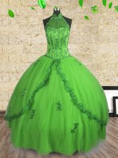 Halter Top Ball Gowns Beading 15 Quinceanera Dress Lace Up Tulle Sleeveless Floor Length
