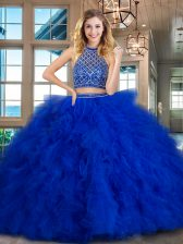 Halter Top Royal Blue Sleeveless Tulle Brush Train Backless Sweet 16 Dresses for Military Ball and Sweet 16 and Quinceanera