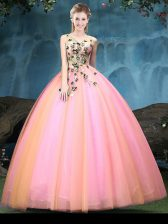 Multi-color Ball Gowns Appliques Quinceanera Dress Lace Up Tulle Sleeveless Floor Length