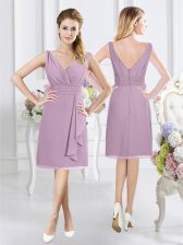 Dynamic Sleeveless Zipper Knee Length Ruching Vestidos de Damas