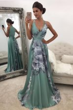 Fantastic Printed With Train Green Dress for Prom V-neck Sleeveless Sweep Train Zipper