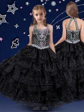 Halter Top Floor Length Black Pageant Gowns For Girls Organza Sleeveless Beading and Ruffled Layers
