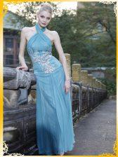 Halter Top Sleeveless Zipper Evening Dress Light Blue Chiffon