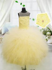 Perfect Light Yellow Little Girls Pageant Dress Party and Wedding Party with Beading and Appliques Scoop Sleeveless Zipper