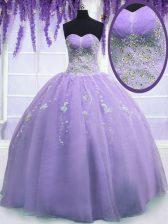 Dazzling Sleeveless Zipper Floor Length Beading Sweet 16 Dresses