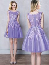 Inexpensive Scoop Sleeveless Tulle Court Dresses for Sweet 16 Appliques and Belt Zipper