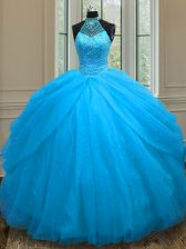 Sleeveless Lace Up Floor Length Beading Sweet 16 Dresses