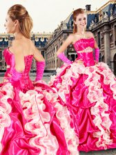 Hot Pink Strapless Neckline Beading and Ruffles and Pick Ups 15 Quinceanera Dress Sleeveless Lace Up