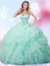 Sleeveless Brush Train Beading and Ruffles and Pick Ups Lace Up Quinceanera Gown