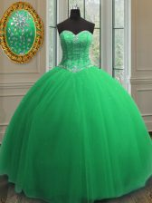 Sequins Floor Length Quinceanera Dress Sweetheart Sleeveless Lace Up