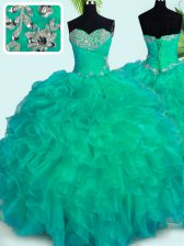Chic Turquoise Sleeveless Organza Lace Up Sweet 16 Dresses for Military Ball and Sweet 16 and Quinceanera