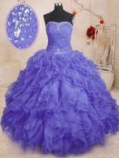 Purple Ball Gowns Beading and Ruffles and Ruching 15th Birthday Dress Lace Up Organza Sleeveless Floor Length