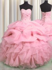 Suitable Visible Boning Rose Pink Lace Up Sweetheart Beading and Ruffles and Pick Ups Quinceanera Dress Organza Sleeveless