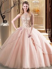 Scoop Peach Ball Gowns Beading Quinceanera Dress Lace Up Tulle Sleeveless