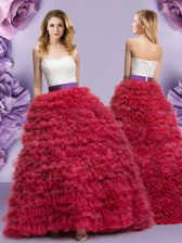 Wine Red Tulle Lace Up 15th Birthday Dress Sleeveless Floor Length Lace and Ruffled Layers