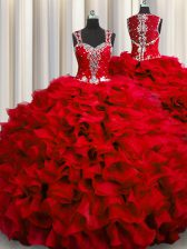 Zipple Up See Through Back Straps Sleeveless Sweet 16 Quinceanera Dress Floor Length Beading and Ruffles Wine Red Organza