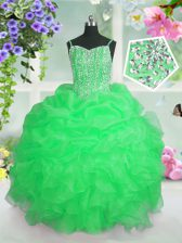 Custom Made Pageant Gowns For Girls Party and Wedding Party with Beading and Ruffles and Pick Ups Spaghetti Straps Sleeveless Lace Up