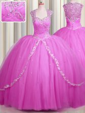 See Through With Train Hot Pink Quinceanera Dress Sweetheart Cap Sleeves Brush Train Zipper