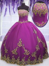 Hot Selling Fuchsia Sleeveless Tulle Zipper Quinceanera Dresses for Military Ball and Sweet 16 and Quinceanera