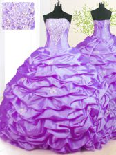 Beading Vestidos de Quinceanera Lavender Lace Up Sleeveless With Train Sweep Train