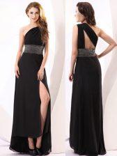 Modern One Shoulder Sleeveless Beading Backless Evening Dress