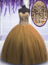 Custom Made Brown 15 Quinceanera Dress Military Ball and Sweet 16 and Quinceanera with Beading Sweetheart Sleeveless Lace Up
