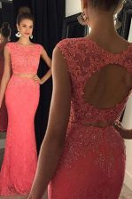 Fabulous Mermaid Lace Sleeveless Sweep Train Backless With Train Beading and Appliques