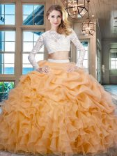 Gold Scoop Zipper Beading and Lace and Ruffles Quinceanera Gowns Long Sleeves