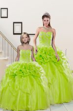 Flare Yellow Green Organza Lace Up Sweetheart Sleeveless Floor Length Quinceanera Dresses Beading and Pick Ups