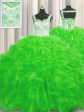 Adorable Organza Lace Up Straps Sleeveless Floor Length Quinceanera Gowns Beading and Ruffles
