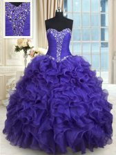 Flare Sweetheart Sleeveless Organza Sweet 16 Dress Beading and Ruffles Lace Up