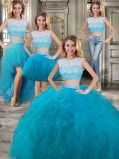 Gorgeous Four Piece Scoop Cap Sleeves Floor Length Beading and Ruffles Lace Up Quinceanera Dresses with Teal