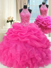 Dazzling Three Piece Halter Top Sleeveless Beading and Ruffles and Pick Ups Lace Up 15th Birthday Dress
