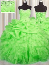 Flirting Lace Up Sweetheart Beading and Ruffles and Ruching and Pick Ups Quince Ball Gowns Organza Sleeveless