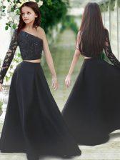 One Shoulder Black Satin Zipper Flower Girl Dress Long Sleeves Floor Length Lace