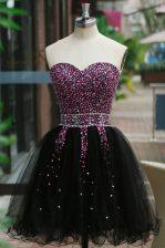 Nice Sleeveless Lace Up Knee Length Beading Evening Dress