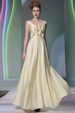 Smart Light Yellow Scoop Neckline Beading and Ruching and Hand Made Flower Dress for Prom Cap Sleeves Side Zipper