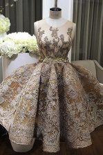 Discount Scoop Mini Length Champagne Prom Party Dress Satin Sleeveless Lace and Appliques