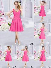 Shining Straps Sleeveless Zipper Damas Dress Hot Pink Chiffon