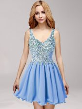 Excellent Straps Criss Cross Mini Length Blue Prom Evening Gown Chiffon Sleeveless Beading and Ruffles