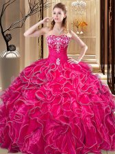 Sweetheart Sleeveless Quinceanera Gowns Floor Length Embroidery and Ruffles Hot Pink Organza