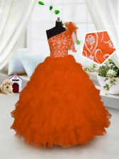 One Shoulder Sleeveless Organza Floor Length Lace Up Pageant Gowns For Girls in Orange with Embroidery and Ruffles